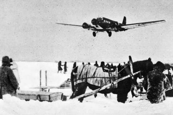 Luftwaffe Ju 52 cargo plane approaching Stalingrad during the air lift, late 1942 (Australian War Memorial)