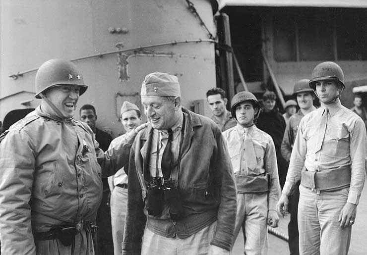 Gen. George Patton and Rear Admiral Kent Hewitt aboard cruiser USS Augusta, off Morocco during Operation Torch, 8 or 9 Nov 1942 (US National Archives)
