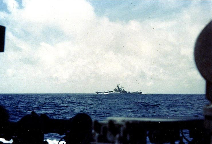 Battleship USS Massachusetts maneuvering off Casablanca, Morocco, 8 Nov 1942, as seen from destroyer USS Mayrant (US National Archives)