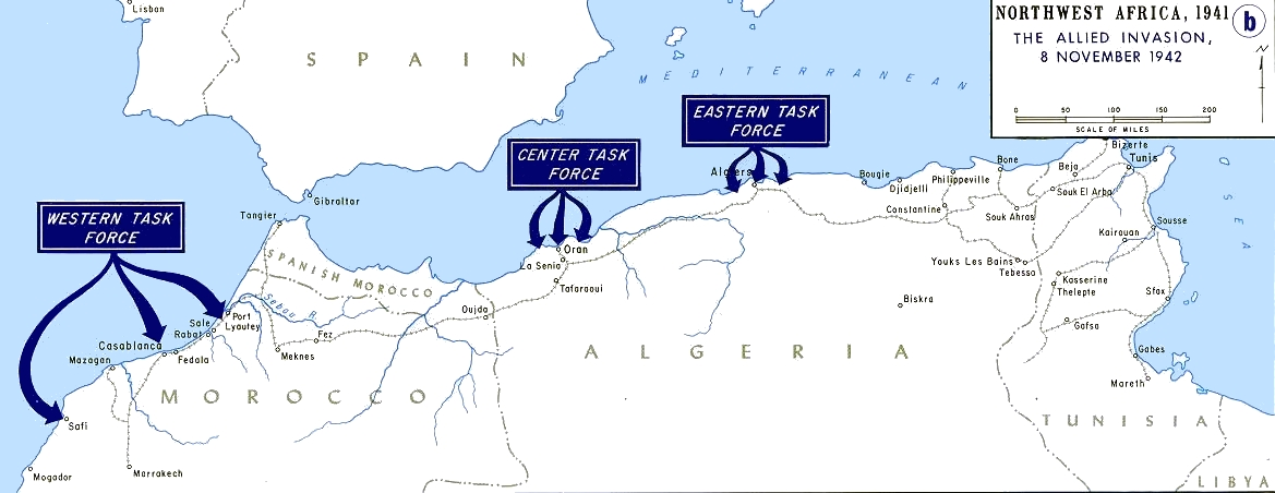 Map of Operation Torch, the Allied invasion of French Morocco and Algeria, 8 November 1942 (US Army)