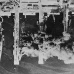 French ships Strasbourg, Colbert, Algérie, and Marseillaise burning in Toulon harbor, France, after being scuttled, 28 Nov 1942; photo taken by RAF aircraft (Library of Congress)
