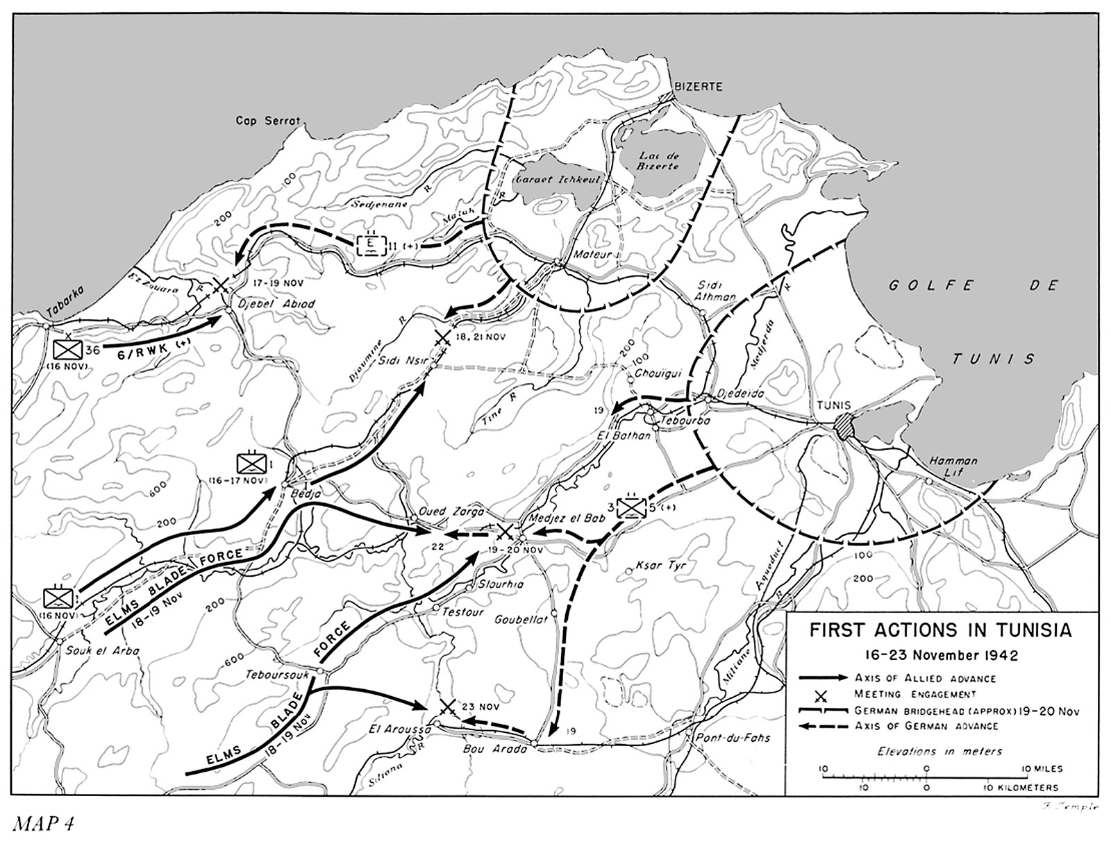 Map of first Allied actions in Tunisia, 16-23 November 1942 (US Army Center of Military History)