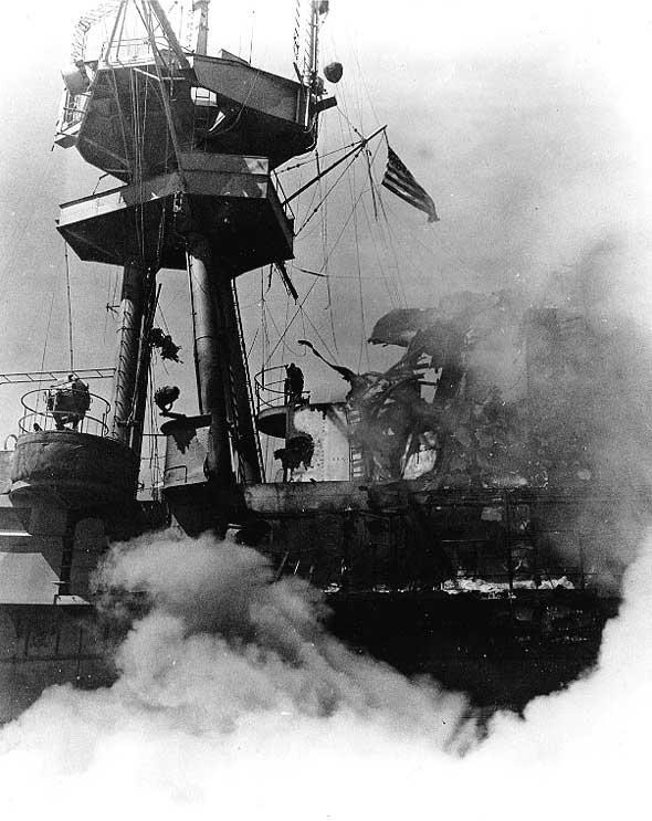 Damage to carrier USS Hornet's signal bridge, Battle of the Santa Cruz Islands, 26 Oct 1942 (US Navy photo)