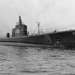 Submarine USS Thresher after launch, 1940 (US Navy photo)