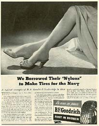 Wartime B.F. Goodrich ad about the requisition of nylon by the US government, which started in 1942
