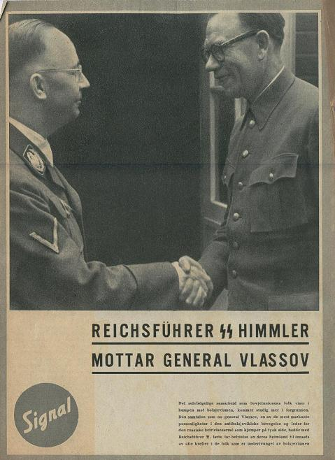 Gen. Andrei Vlasov and Heinrich Himmler on cover of Signal magazine (Norwegian), 1943 (public domain via Wikipedia)