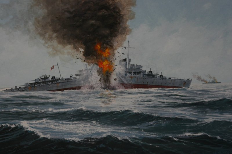 Painting of the Battle of the Barents Sea, 31 December 1942, by Irwin J. Kappes. The ship depicted is the German destroyer Friedrich Eckoldt (Via Wikipedia Creative Commons).