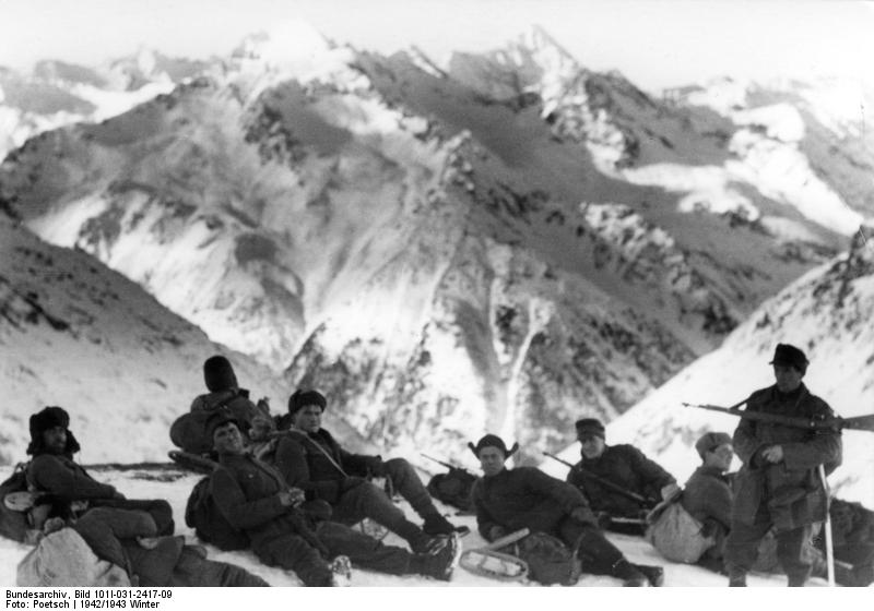 German mountain troops in the Caucasus region of southern Russia, winter of 1942-43 (German Federal Archive: Bild 101I-031-2417-09)