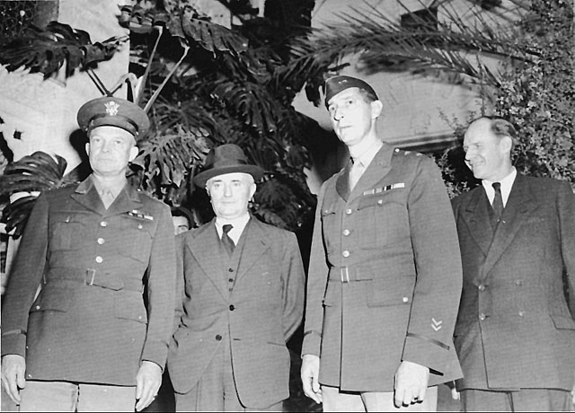 General Eisenhower, Admiral Darlan, Maj. Gen. Mark W. Clark, and Robert Murphy of US State Department at the negotiations in Algiers, 13 November 1942 (US Army Center of Military History)