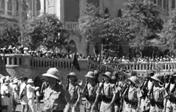 British troops parading in Djibouti, French Somaliland, Dec 1942 (public domain via WW2 Database)