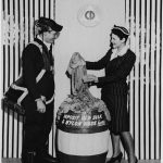 Deena Clark, Civilian Defense (right), and Tech. Sgt. Leo Malkins of the Army Air Forces (left) collecting used stockings (Franklin D. Roosevelt Presidential Library & Museum),