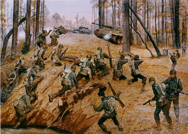 "Painting: ""Go for Broke,"" depicting Japanese-American 442nd Regimental Combat Team in action in France, October 1944 (US Army Center of Military History)"