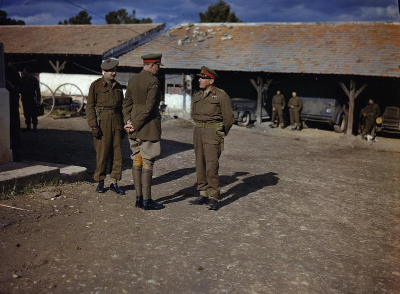 Lt.-Gen. Kenneth Anderson (right) at 78th Infantry Division headquarters in Tunisia, with Brig. C.B. McNabb and Maj.-Gen. V. Evelegh, January 1943 (Imperial War Museum)