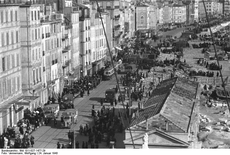 SS and French police round up Jews in the old quarter of Marseille, France, 24 Jan 1943 (German Federal Archive: Bild 101I-027-1477-29)