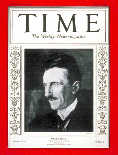 Nikola Tesla on the cover of Time Magazine for his 75th birthday, 20 July 1931 (public domain via Wikipedia)
