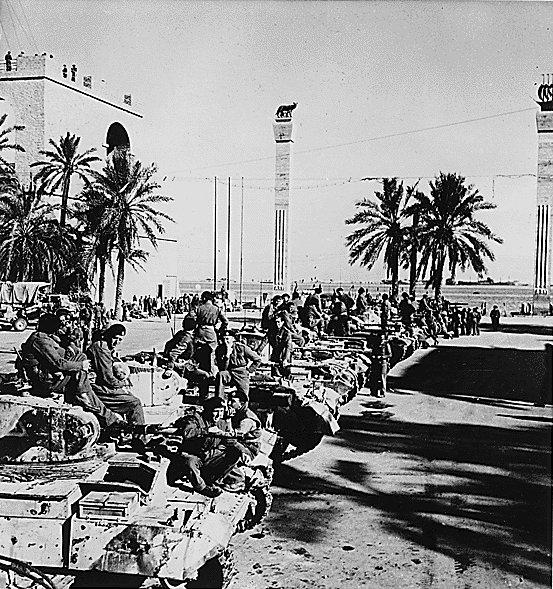 British Valentine infantry tanks in Tripoli, Libya, late Jan 1943 (US National Archives)