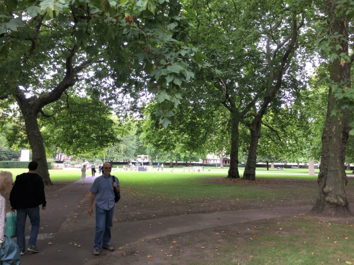 Grosvenor Square, London (and my husband!), September 2017 (Photo: Sarah Sundin)
