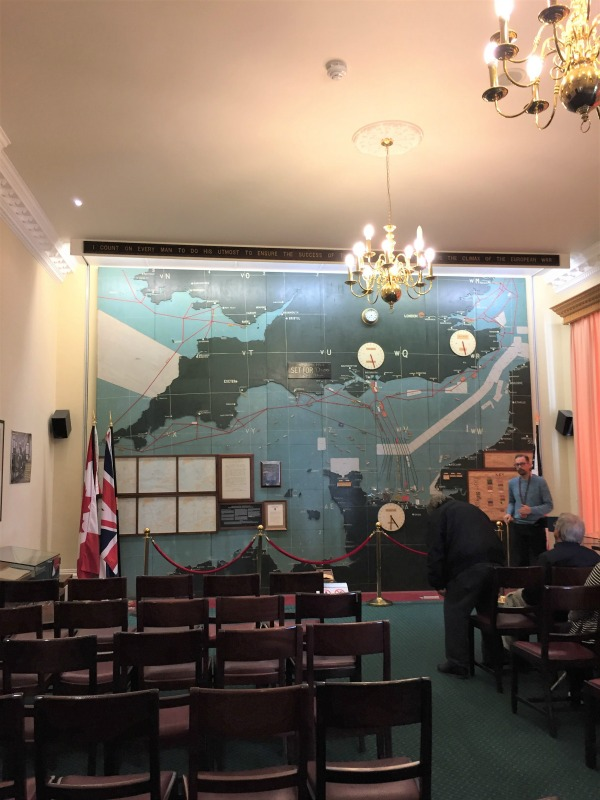 The map room at Southwick House, with the giant wooden wall map actually used on D-day, Southwick House, England, September 2017 (Photo: Sarah Sundin)