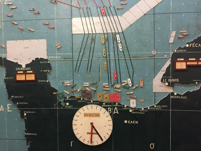 The actual wooden wall map used on D-day, showing the landing beaches, set for D-day at H-hour, in the map room at Southwick House, England, September 2017 (Photo: Sarah Sundin)