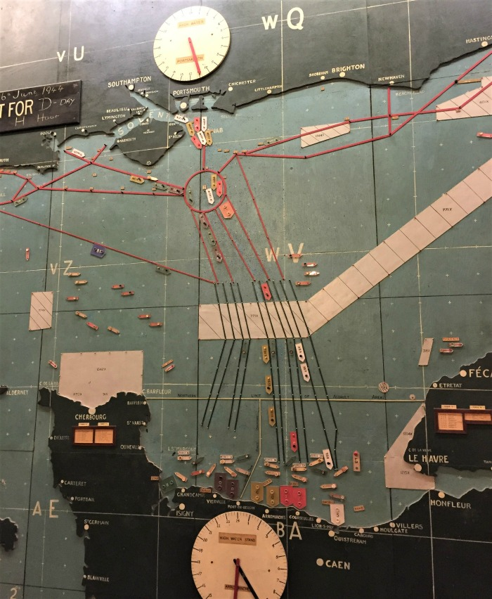The actual wooden wall map used on D-day, showing the shipping lanes, set for D-day at H-hour, in the map room at Southwick House, England, September 2017 (Photo: Sarah Sundin)