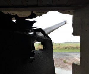 View from inside Longues-sur-Mer gun battery. Note damage. Longues-sur-Mer, France, September 2017 (Photo: Sarah Sundin)