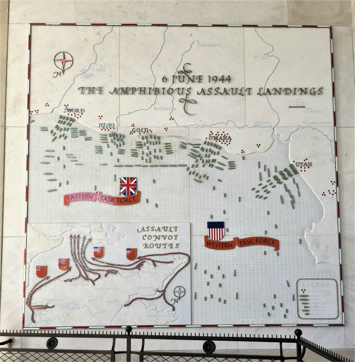 Map of Allied naval operations on D-day, Normandy American Cemetery and Memorial, Colleville-sur-Mer, France, September 2017 (Photo: Sarah Sundin)