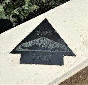 Plaque honoring the destroyer USS Corry, the only US warship lost on D-day, US Navy Monument, Utah Beach, Sainte Marie du Mont, France, September 2017 (Photo: Sarah Sundin)