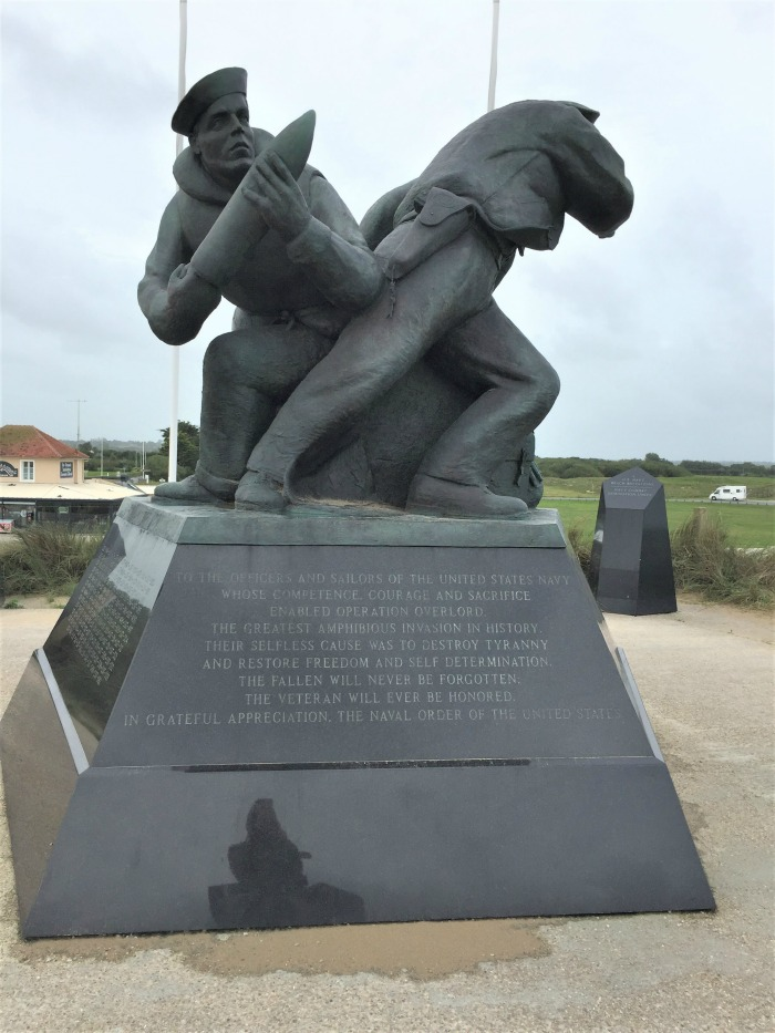 Depiction of American sailor loading gun, US Navy Monument, Utah Beach, Sainte Marie du Mont, France, September 2017 (Photo: Sarah Sundin)