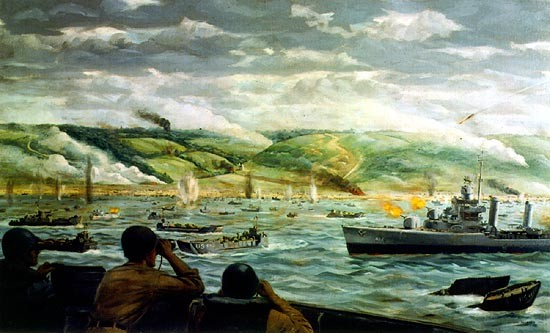 """The Battle for Fox Green Beach, D-Day Normandy"" View of invasion of beach, D-Day, as US destroyers come close to Omaha Beach to aid ground troops. Painting, Oil on Canvas; by Dwight C. Shepler; 1944. (US Naval History and Heritage Command)"