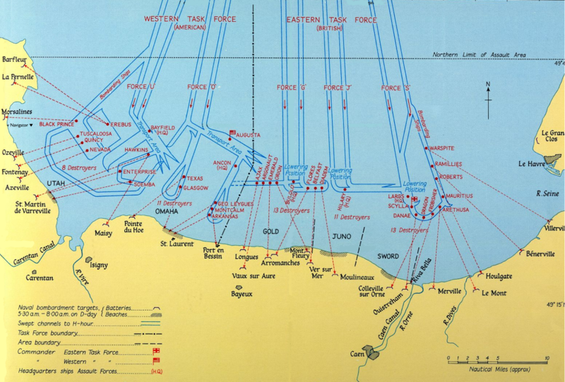 Map showing Allied naval bombardment of Normandy on D-day, 6 June 1944 (Victory in the West, vol. 1, public domain via National Archives, UK)