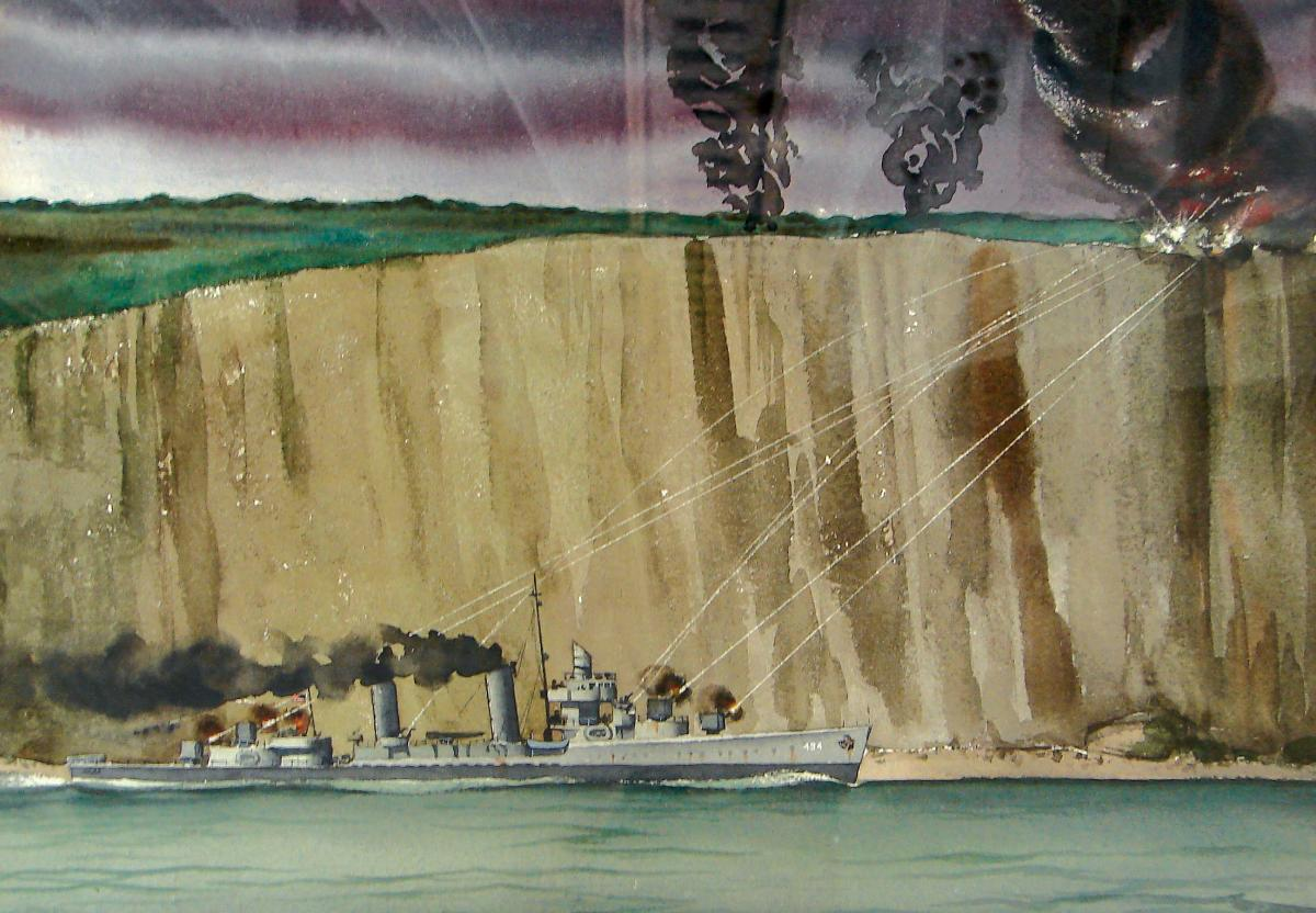 Early on D-Day, several U.S. destroyers exchanged fire with German artillery atop cliffs just east of Omaha Beach, a scene likely depicted in Coast Guard combat artist H. B. Vestal's watercolor of the USS Doyle. At 1100 the destroyer was 800 yards off Omaha's Easy Red, knocking out German machine-gun emplacements and casemates. (U.S. COAST GUARD HISTORICAL ARTIFACT COLLECTION, 2008.0103 via US Naval Institute)