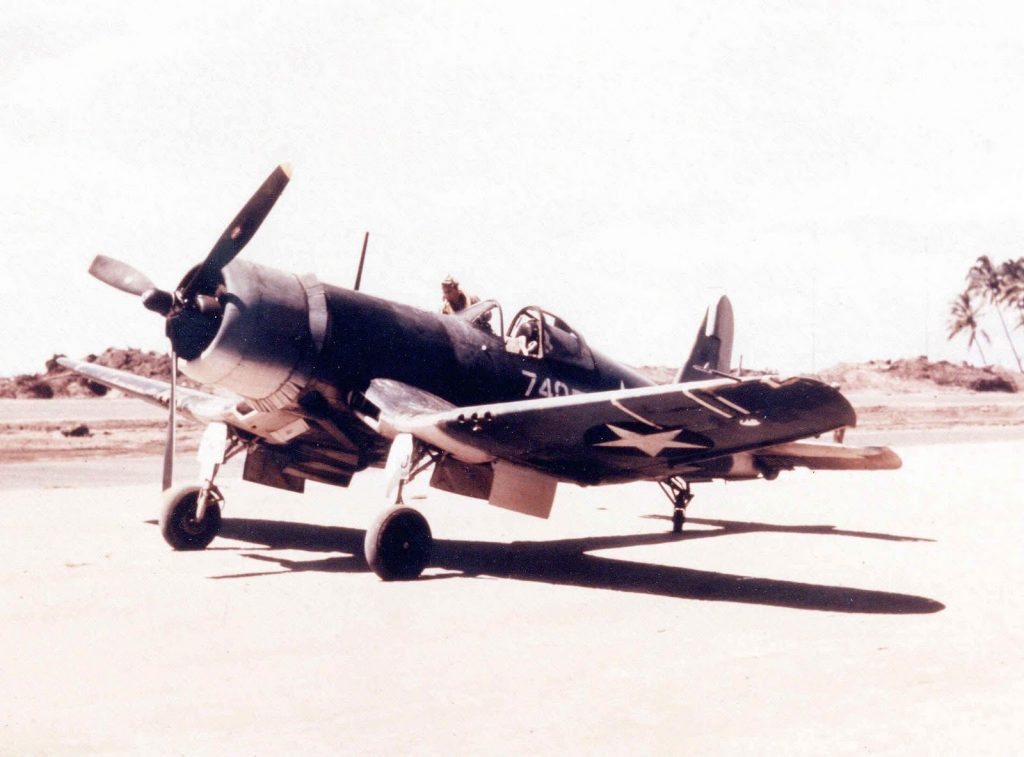 Marine F4U-1 Corsair, Torokina Airstrip, Bougainville, Solomon Islands, early 1943 (US Marine Corps photo)