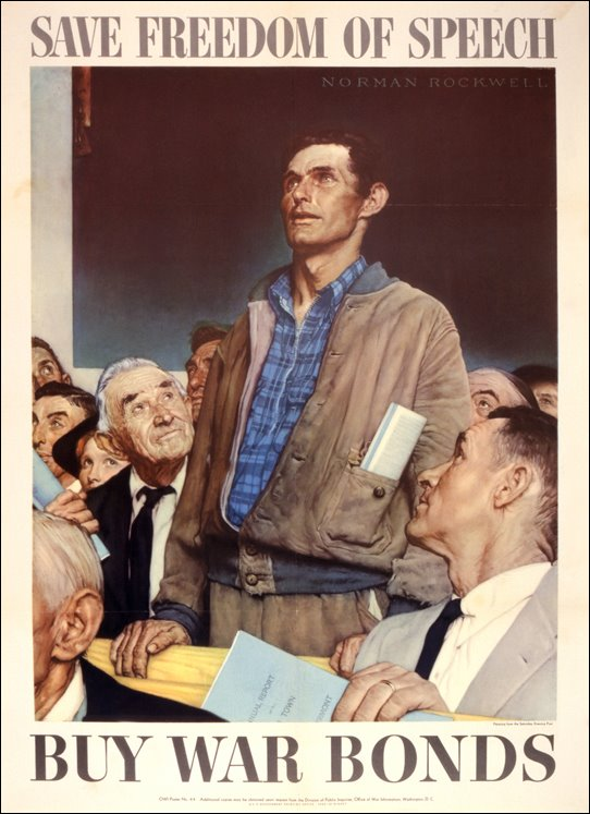 "US poster, WWII, featuring Norman Rockwell's ""Freedom of Speech"""