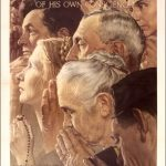 """US poster, WWII, featuring Norman Rockwell's """"Freedom of Worship"""""""