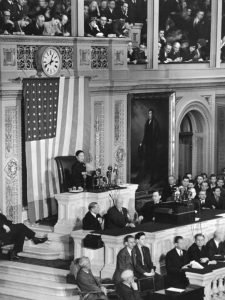 Song Meiling, Madame Chiang Kai-shek, addressing US Congress, 18 Feb 1943 (public domain via Republic of China Ministry of the National Defense)