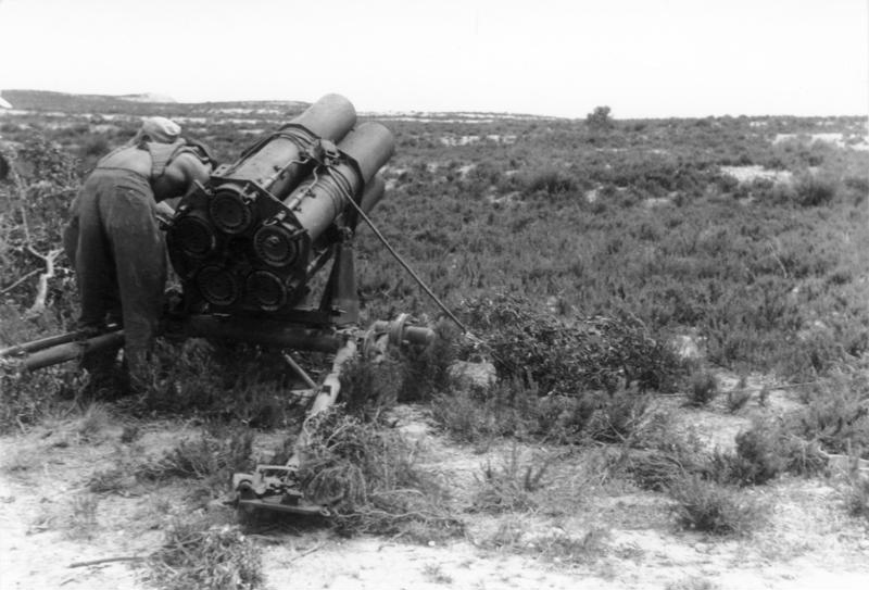 German 21cm Nebelwerfer rocket launcher, Tunisia, April 1943 (German Federal Archive: Bild 101I-787-0505-09A)