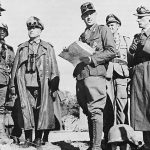 Field Marshal Erwin Rommel with his staff in Tunisia, 1943 (US Army Center of Military History)