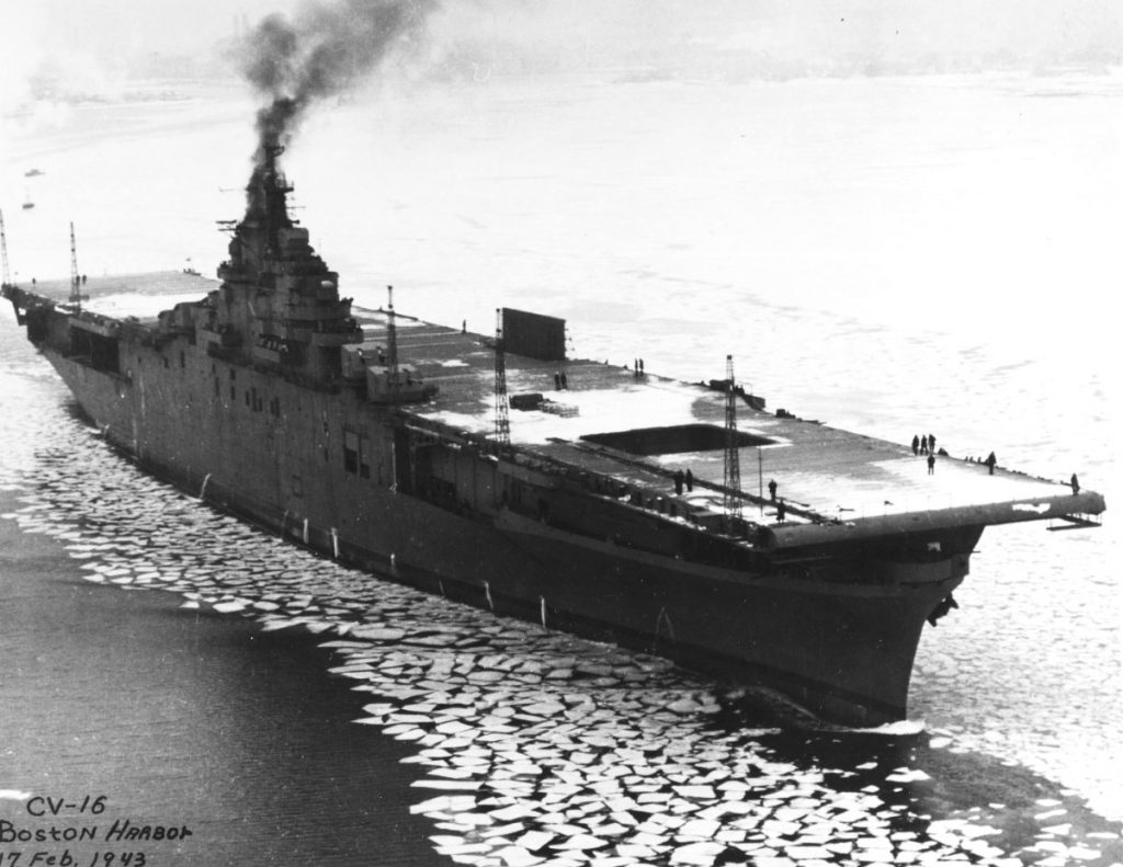 Newly commissioned carrier USS Lexington in the icy waters of Boston harbor, Massachusetts, 17 Feb 1943 (US Navy photo)