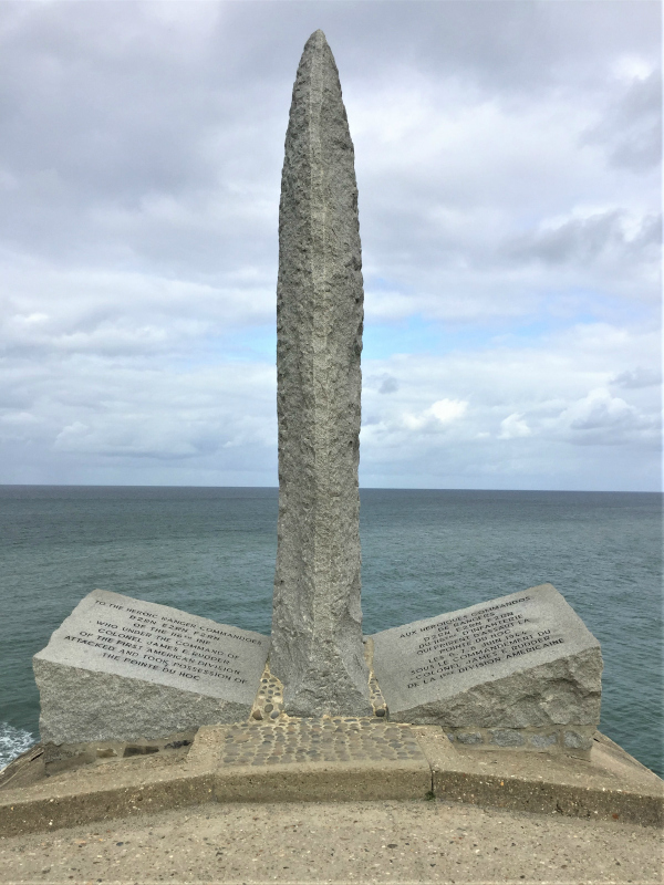Monument to the US 2nd Ranger Battalion at Pointe du Hoc in Normandy, France (Photo: Sarah Sundin, September 2017)