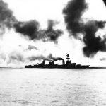 Heavy cruiser USS Salt Lake City in action during Battle of the Komandorski Islands, 26 Mar 1943 (US Naval History and Heritage Command)