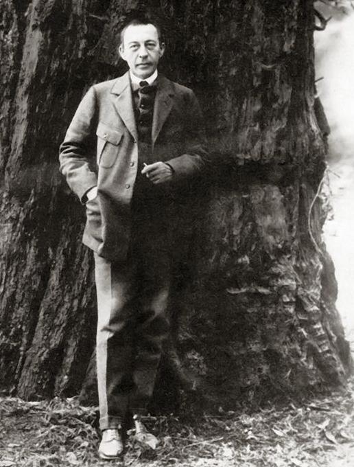 Sergei Rachmaninoff in the California redwoods, 1919 (public domain via Wikipedia)