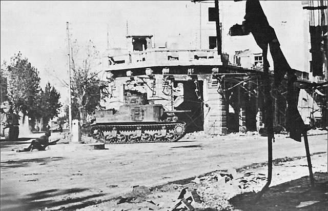 US troops and tanks in Bizerte, Tunisia, 7 May 1943 (US Army Center of Military History)