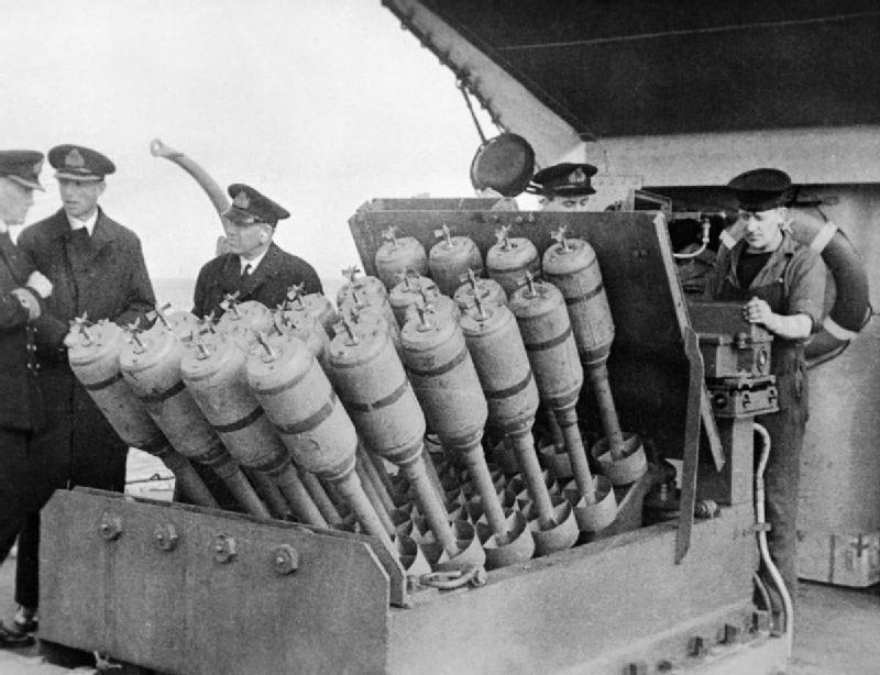 Hedgehog, an anti-submarine mortar, on destroyer HMS Westcott, 1945, weapons used by escort ships in battle of convoy ONS-5 (Imperial War Museum)