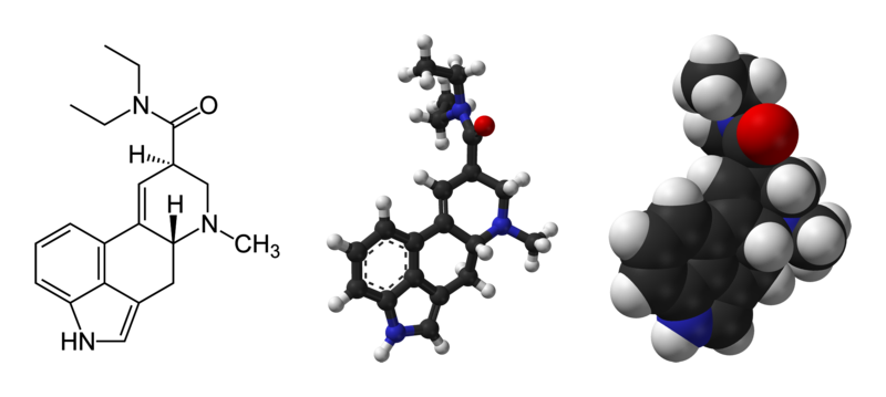 Molecular structure of lysergic acid diethylamide, LSD (public domain via Wikipedia)