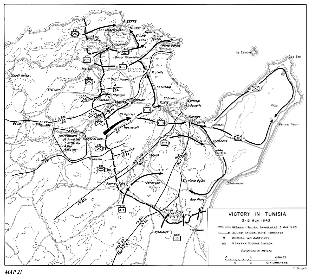 Map of Allied operations in Tunisia, 3-13 May 1943 (US Army Center of Military History)