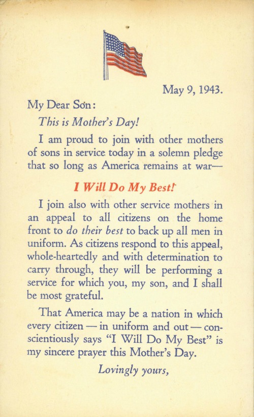 Card made for mothers to send to their sons in uniform, Mother's Day, 9 May 1943 (Source: US Marine Corps)