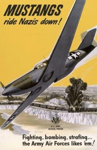 US poster featuring the North American P-51B Mustang, WWII
