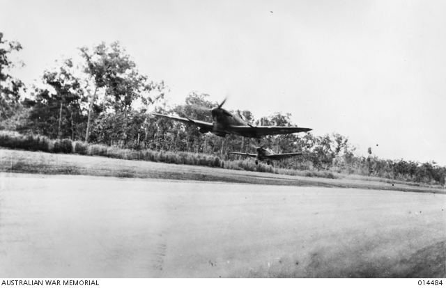 RAAF Spitfires taking off from airfield near Darwin, Australia, 24 March 1943 (Australian War Memorial)