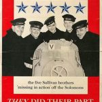 US poster commemorating the five Sullivan brothers who dies in the sinking of the USS Juneau in November 1942