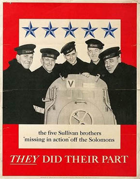 US poster commemorating the five Sullivan brothers who died in the sinking of the USS Juneau in November 1942